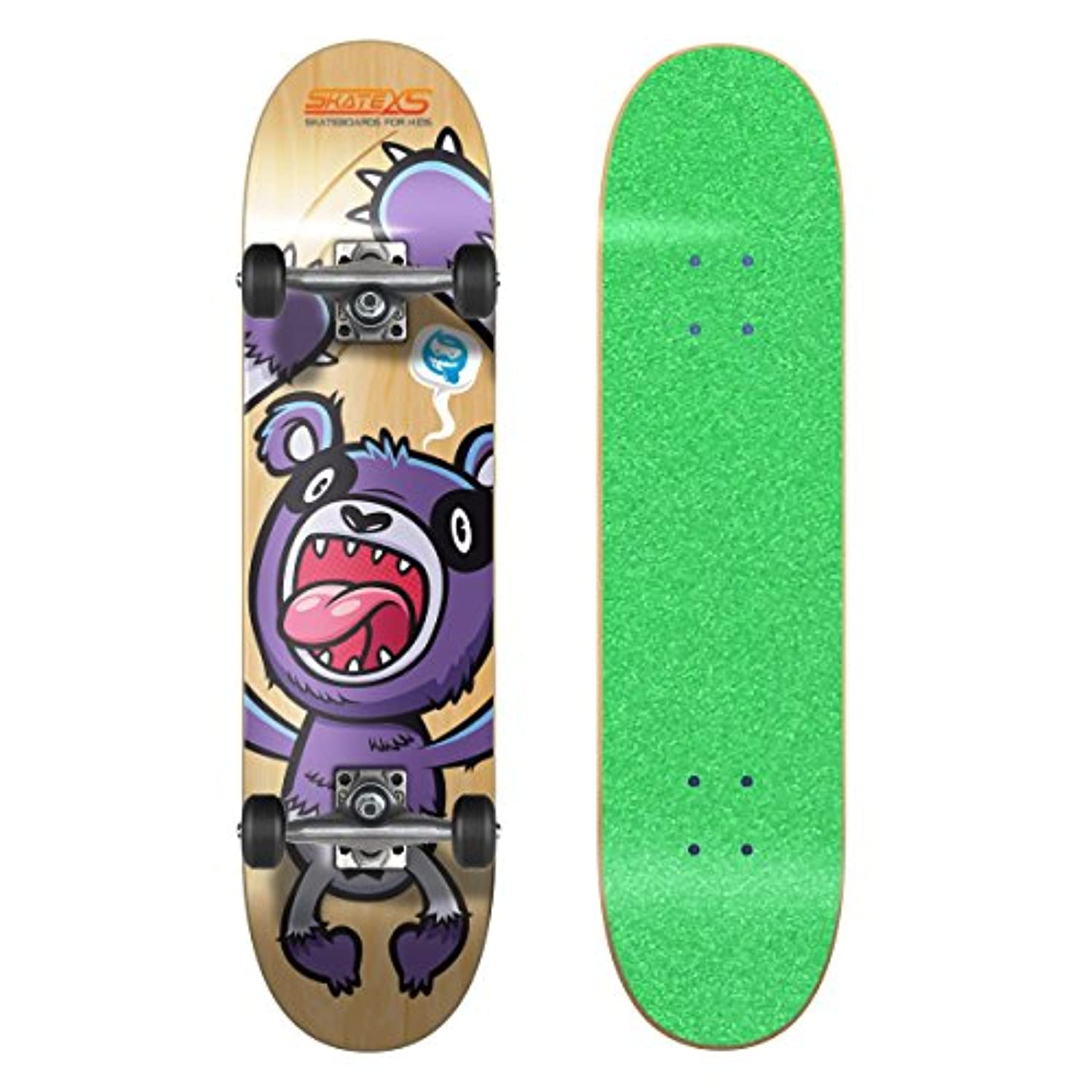 SkateXS Beginner Panda Street Skateboard - Green Grip