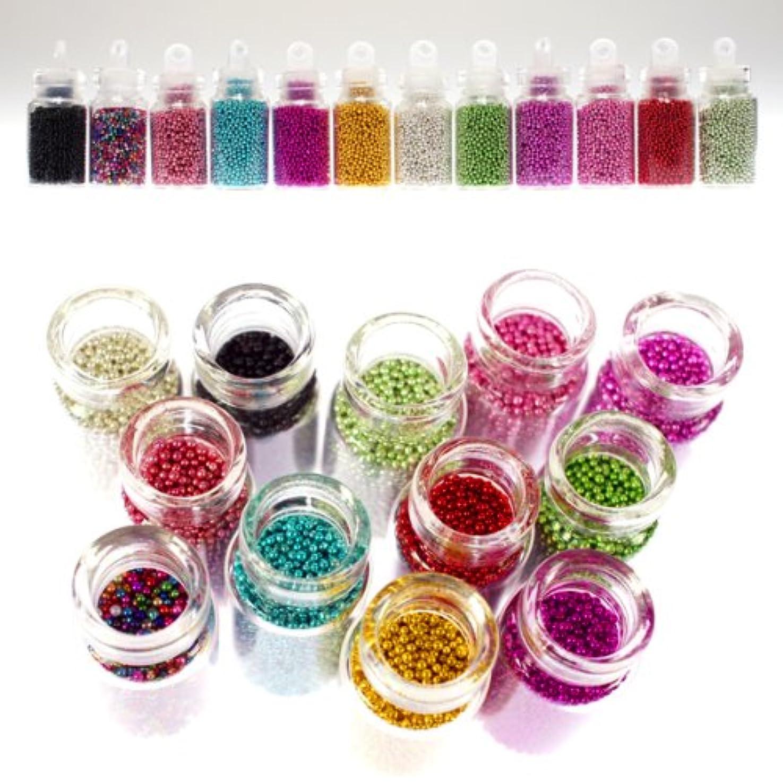 専門化するアクション連鎖ブリオン12色セット キャビアネイルに最適 可愛いガラスの小瓶入り ネイルパーツ