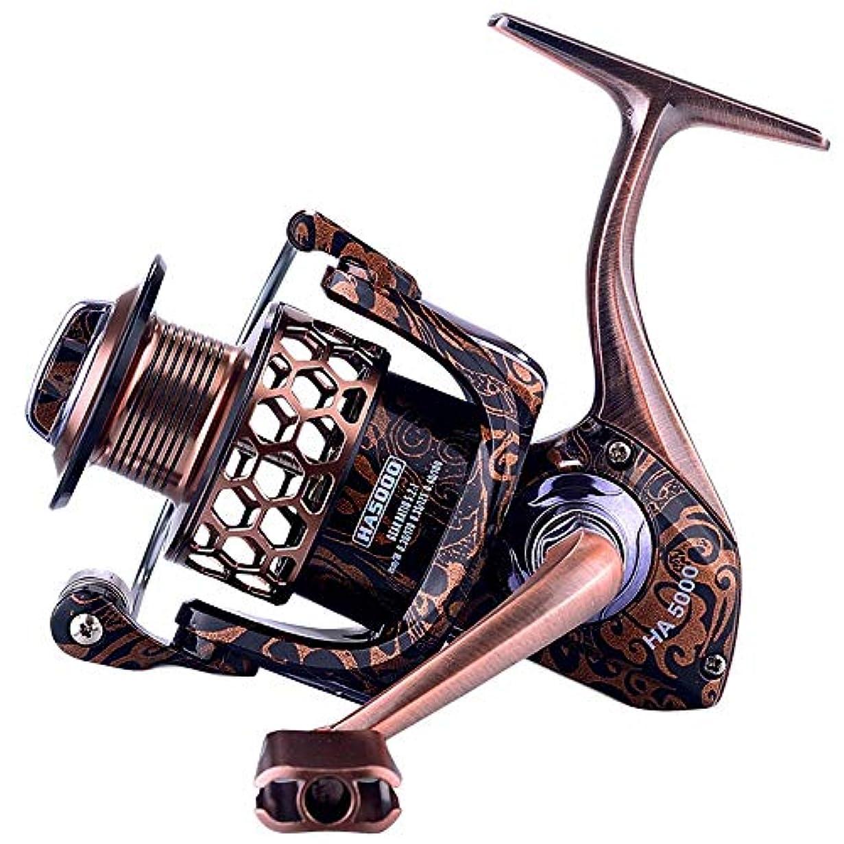 投資する調和のとれた間違っている釣りリール レトロな光と滑らかな釣りリールラフ 釣りセット 初心者 釣り竿 リール セッロッ (Color : Gold, Size : II)