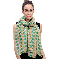 Lina & Lily Pineapple Print Women's Large Scarf Lightweight