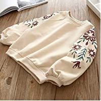Kids Clothing Spring and Autumn Baby Round Neck Embroidered Long Sleeve Top Sweatshirt, Height:100cm(Pink) Boys Clothing (Color : Apricot)