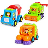 yeahibaby Friction Powered Cars Construction Vehicleおもちゃ早期教育Toys for Kids Toddlers 3pcs