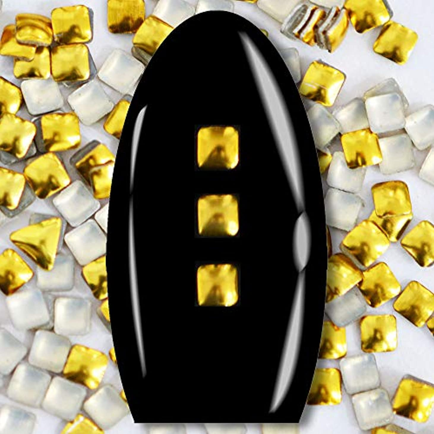 外観ファランクストリッキーメタルスタッズ ネイル用 100粒 STZ015 スクエア ゴールド 2mm
