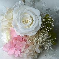 1054【コサージュ】【結婚式、入学式、卒業式】プリザーブド・バラ 白(ホワイト)1輪