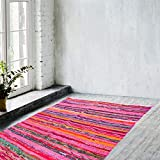 Zahra Bohemian Colourful Chindi Rag- Hand Woven Multi Color Cotton Home Décor Vibrant Chindi Rag Rugs