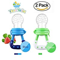 Baby Fresh Food/Fruit Silicone Feeder Nibbler Teether Toy with Handgrip for Boys and Girls 2 PCS (6-12 months BlueGreen) [並行輸入品]