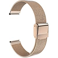 "ATiC ステンレス鋼製 グリッド形 腕時計ストラップ/バンド/交換ベルト Huawei Watch 1st/Fit Honor S1/Asus Zenwatch 2 1.45""/Withings Activite Pop/Pulse Oxに対応 18mm幅のウォッチに対応 Rose Gold"