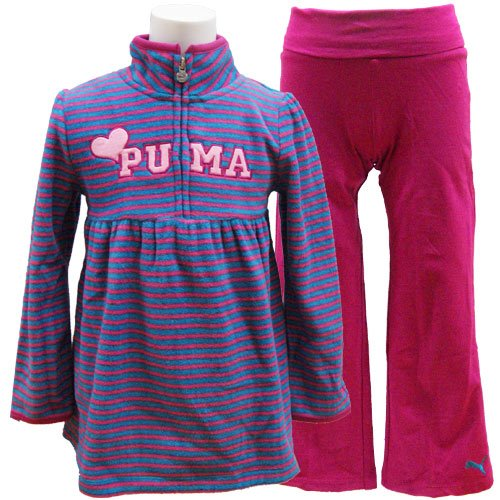 PUMA プーマ キッズ ジュニア フリース ワンピース チュニック レギンス 上下セット 暖か 1...