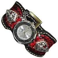 【diosbras-ディオブラス-】本革サドルレザー&レッドパイソン カスタムウォッチ レザーウォッチ コンチョ 腕時計 シルバー925 ヌメ革 バイカー 牛革時計