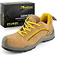 SAFETOE Men Steel Toe Work Shoes Lightweight Lace Up Leather Work Trainer Safety Footwear