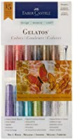 Faber-Castell Metallic Gelato Gel Sticks (12 Colors ] Brush + Blending Tools)