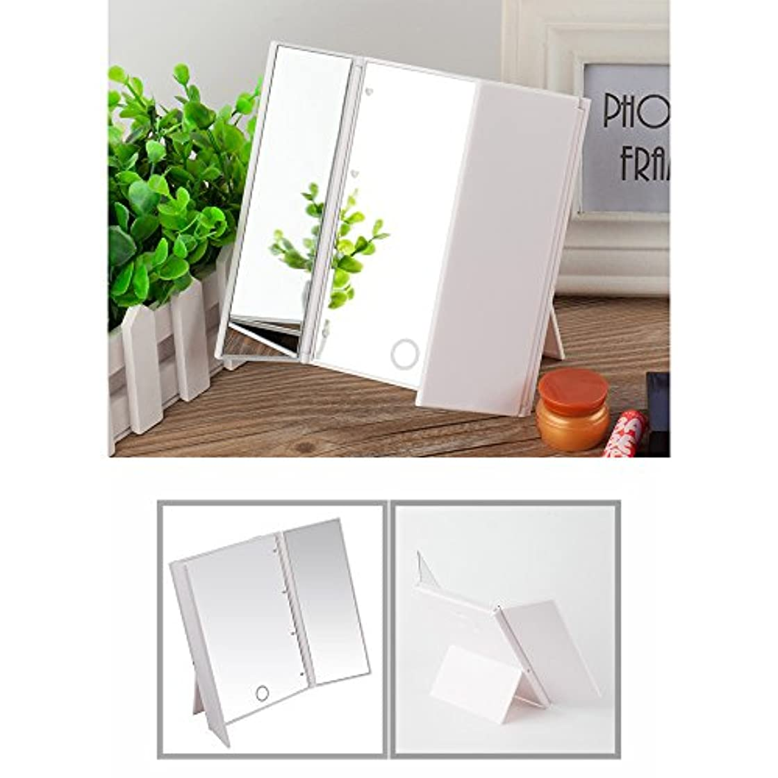 クーポンフィクションボクシングLED化粧鏡 特大のサイズ 拡大鏡付き 卓上 三面鏡 LED 明るさ調節可 折りたたみ式 タッチ制御で調光可能 ライト付きメイクアップミラー 電池式 ホワイト