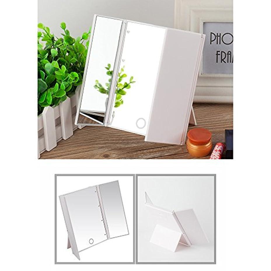 関連付ける粘土計り知れないLED化粧鏡 特大のサイズ 拡大鏡付き 卓上 三面鏡 LED 明るさ調節可 折りたたみ式 タッチ制御で調光可能 ライト付きメイクアップミラー 電池式 ホワイト