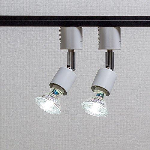 ライティングバー用スポットライト LED電球付き E11 配線ダクトレール用器具セット 天井照明 2個セット (ホワイト 昼光色 ガラス)