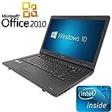 【Microsoft Office2010搭載】【Win 10 Pro搭載】TOSHIBA B450/第三世代Celeron Dualcore 2.1GHz/大画面15.6インチ/無線LAN搭載/中古ノートパソコン/ (メモリー4GB HDD 250GB)