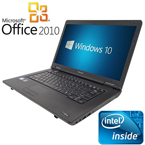 【Microsoft Office2010搭載】【Win 10 Pro搭載】TOSHIBA B450/第三世代Celeron Dualcore 2.3GHz/大画面15.6インチ/無線LAN搭載/中古ノートパソコン/ (メモリー2GB 新品SSD 120GB)