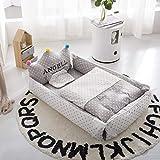 PONOA 王冠型 布団セット ベッドインベッド (防水シーツ付き)ベビー布団 ベッドガード 取り外し 洗える可能 おむつ換え 枕付き 掛布団付き… (スター・グレー・掛け布団付き)
