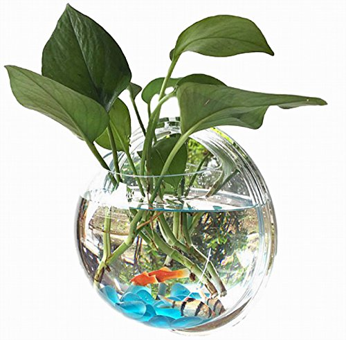 【Rurumi】半球型 壁掛け 水槽 アクアリウム アクリル製 金魚鉢 人工水草 カラフル 小石 ネット 付 植木鉢 観葉植物 花瓶 インテリア (直径 23cm)