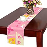 GGSXD テーブルランナー かわいい ひよこ クロス 食卓カバー 麻綿製 欧米 おしゃれ 16 Inch X 72 Inch (40cm X 182cm) キッチン ダイニング ホーム デコレーション モダン リビング 洗える