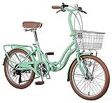 キャプテンスタッグ ホワイトニングバレイ 20インチ 折りたたみ自転車 [ シマノ6段変速 / LEDオートライト / リング錠 / リアキャリア / 前後泥よけ ]標準装備 YG-242