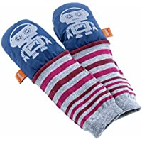mimiTENS All Weather Long Sleeve Warm Winter Mittens (Size 3-4, Navy Silver Robots) by mimiTENS