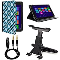 VanGoddy Mary 2.0 Standing Portfolio Case for Insignia Flex 10.1 inch Tablet with Headrest Mount & Auxiliary Cable, Blue Checker [並行輸入品]