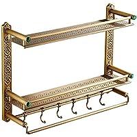 タオルラックヨーロッパスタイルの銅のアンティークラックウォールタオルラックフックシングルレイヤーダブルレイヤー(62CM) /バスルーム (サイズ さいず : Double layer 62cm)
