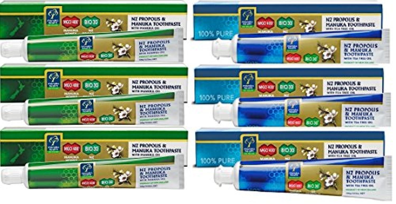 プロポリス&マヌカハニーMGO400 歯磨き粉 ティーツリー3本 マヌカオイル3本 セット [並行輸入品]