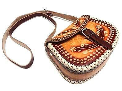 メキシコ土産 革製 ショルダーバッグ 中・お花柄A