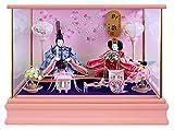 雛人形 ケース飾り ひな人形 ピンク塗コンパクトケース親王飾り W48×D33×H35cm S102C