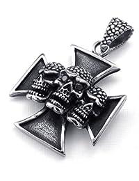 [テメゴ ジュエリー]TEMEGO Jewelry メンズステンレススチール製のヴィンテージゴシックスカルクロスペンダントネックレス、ブラックシルバー[インポート]