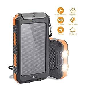 soluser モバイルバッテリーソーラーチャージャー 10000mAh大容量充電器 2USB出力ポート羅針盤が付きIP67完全防水 高輝度LEDライト付き 災害時/旅行/アウトドアに大活躍 iOS/Android対応 SOS発信UL/ROSH/PSE認証取得(黒-オレンジ)