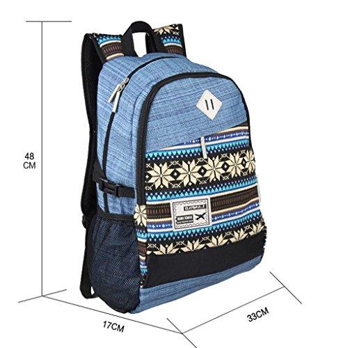 民族風リュック バックパック 帆布バッグ 旅行 学園 通学 かわいい エスニック柄 オシャレ (ブルー)