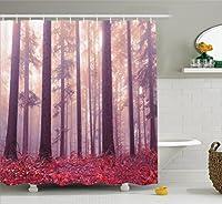ウッドランドインテリアシャワーカーテンセットby Ambesonne、カラフルなForest With Foggy SunlightミスティックライトBig Trees Magic Wilderness型ボディファンタジー、浴室アクセサリー、84インチ