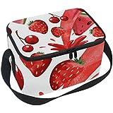 クーラーバッグ クーラーボックス ソフトクーラ 冷蔵ボックス キャンプ用品  イチゴとスイカ柄 保冷保温 大容量 肩掛け お花見 アウトドア