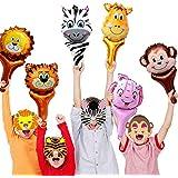 バルーン 動物 12個ハンドヘルド動物風船 6個動物仮面マスク ジャングルサファリ動物パーティー飾り 子ども おもちゃ 動物