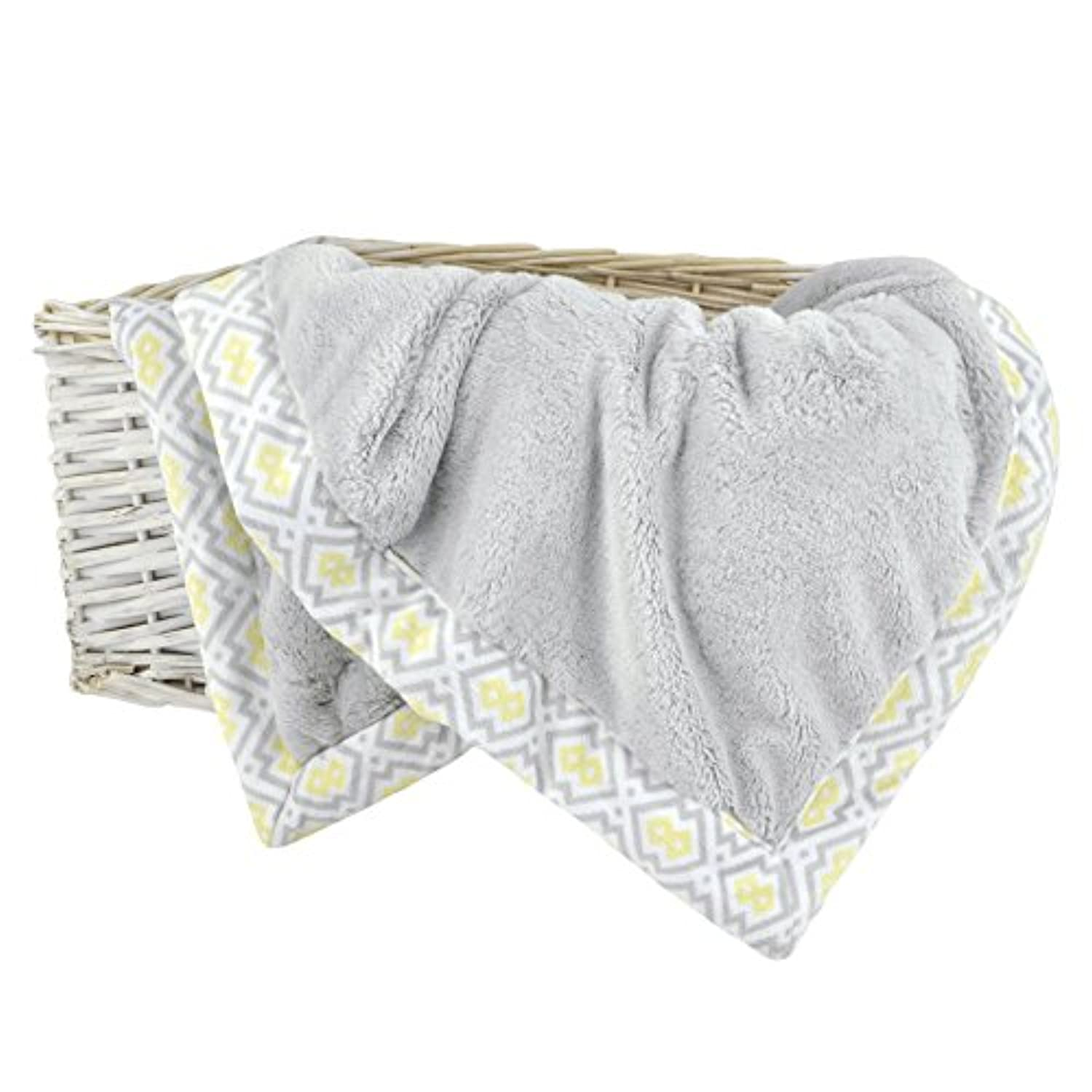 Just Born Plush Blanket, Grey/White/Yellow by Just Born