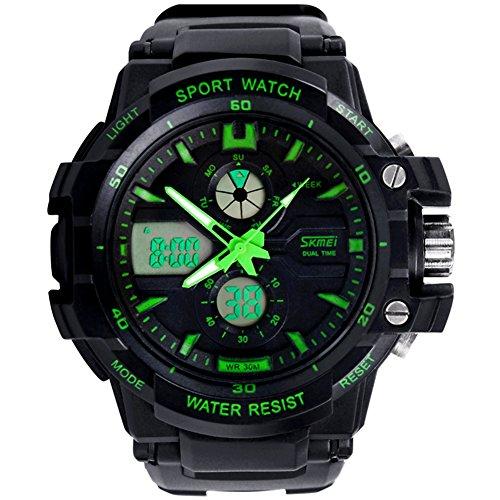 SKM 腕時計 ブランド メンズ ボーイズ 男の子 アナデジ表示腕時計 登山用多機能腕時計 ファッション 夜光 防水 ウォッチ かっこいい スポーツウォッチ アラームウォッチ クロノグラフ ストップウォッチ