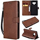 Mobile phone case Fashion Premium Retro Business Solid Color Full Coverage PU Leather Shockproof Magnetic Flip Case for Samsung Galaxy Note 9, with Holder Card Slots Wallet Wrist Strap (Color : Red)