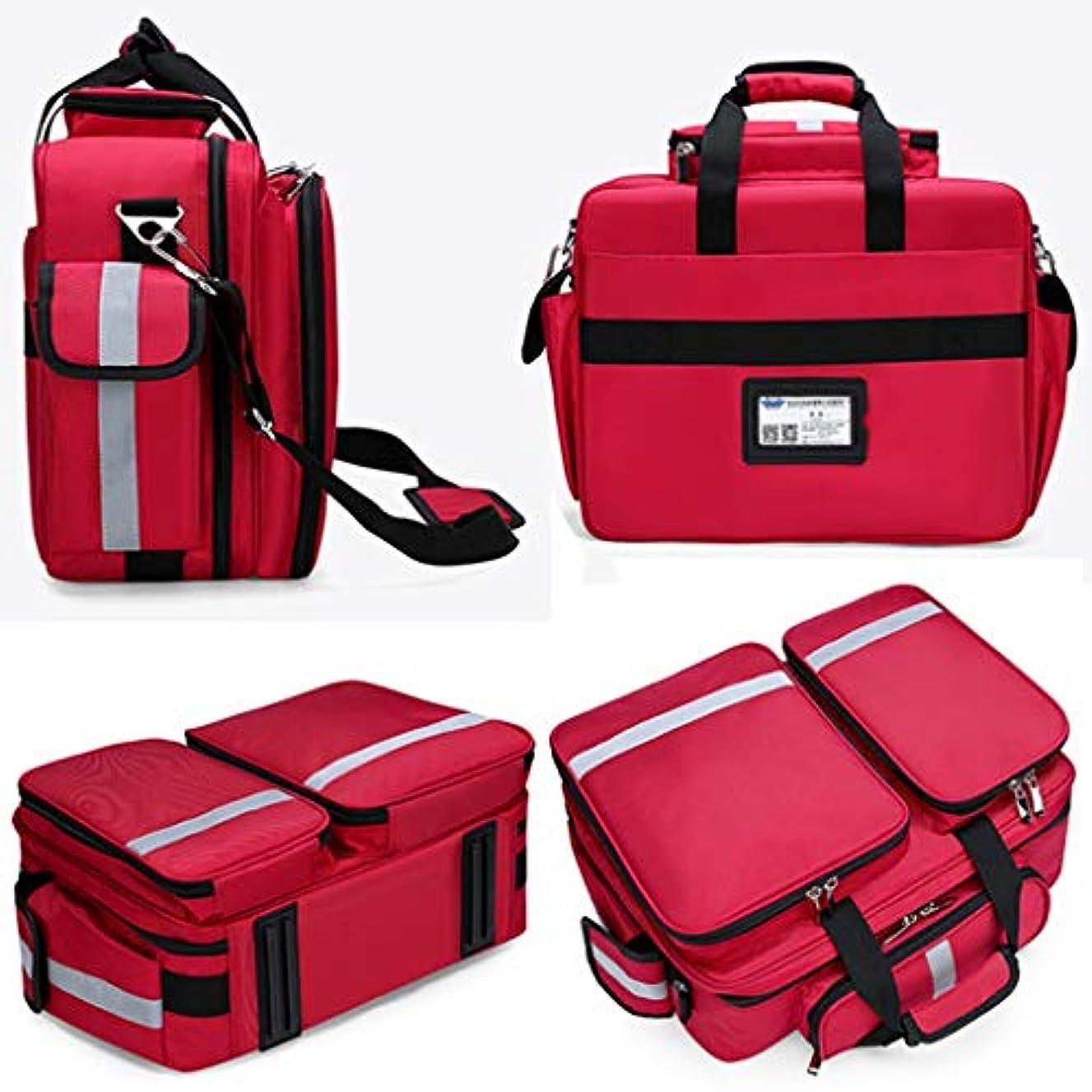 苦痛鳩不均一First aid kit ポータブル医療キット大容量救急箱コンパートメントデザインナイロンオックスフォード素材/赤青 XBCDP (Color : Red)