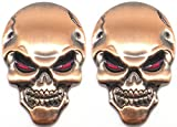 スカル エンブレム 3D 立体 ステッカー 骸骨 ドクロ 2個 セット 装飾 飾り カー アクセサリー ドレスアップ (アンティーク)