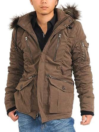 (スペイド) SPADE コート メンズ モッズコート ファー フード ミリタリー ジャケット 【w251】 (M, ブラウン)