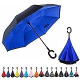 CarBoys 長傘 逆さ傘 逆折り式傘 手離れC型手元 耐風傘 撥水加工 晴雨兼用 ビジネス用 車用 UVカット遮光遮熱 傘ケース付き(ダイヤブルー)
