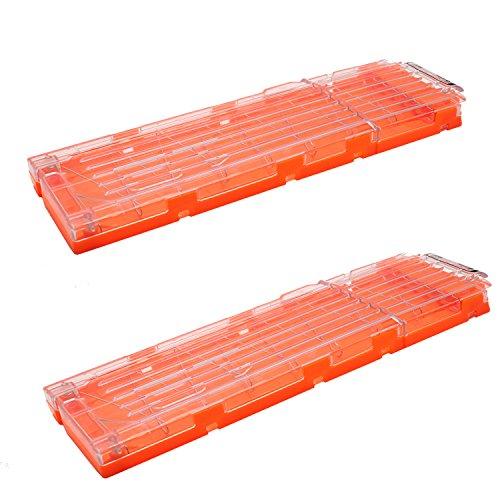 [해외]투명 오렌지 - NERF위한 매거진 Hosim2 개 잡지 - 18 총알 총알 총알 총기 탄약 클립을 폭발 n은 공격 엘리트 어린이 장난감 총/Magazine for Transparency and Orange - NERF~ Hosim 2 Magazines - 18 Bullets Bullets Bullets Blast ammunition cl...