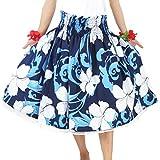 DFギャラリー パウスカート フラ ダンス衣装 レッスン用 シングル JA44145 70cm丈 ネイビーブルーxホワイト