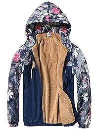 Keaac メンズ花プリントロングスリーブ冬フリースアウトウェアジャケット