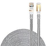 LANケーブル CAT7準拠 [Danyee®一年間保証] インターネットケーブル 結束マジックテープ付き 長さ1M 3M 5M 8M 10M 20M (8M, ホワイト)