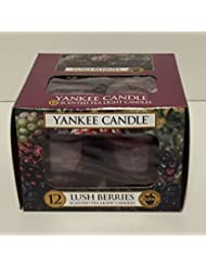 Yankee Candle Lush Berries、フルーツ香り Scented Tea Light Candles レッド 1342524-YC