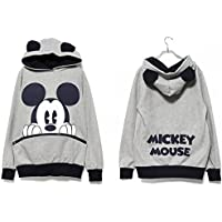 Womens Hoodies Sweater Sweatshirt Long Sleeve Pullover Hooded Casual Jumper Tops #2 Grey - Mickey Print Hoody H. XXL