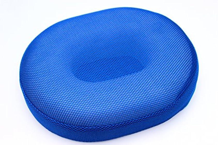空白フィードオン嘆く円座 ちょっと硬め ドーナツ型 クッション メッシュ?スウェード (ブルー(メッシュ))